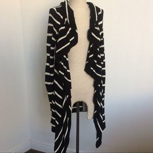 Black & White Stripe Waterfall Cardigan